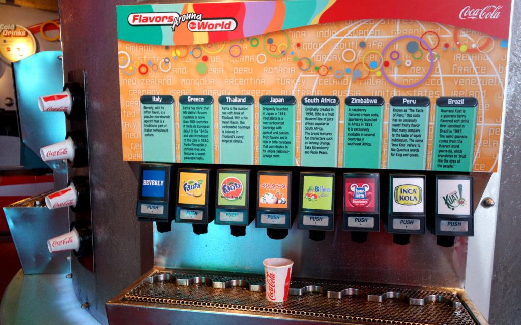 Opções de refrigerantes no Club Cool