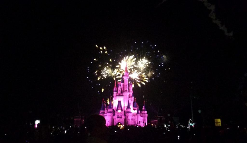 Show de fogos Wishes, com o Castelo da Cinderela iluminado