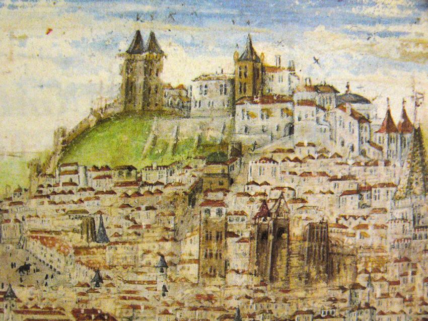 Panorama de Lisboa com o Castelo no topo e as muralhas da cidade, na crônica de D.Afonso Henriques, de Duarte Galvão (1505). Fonte: wikipedia