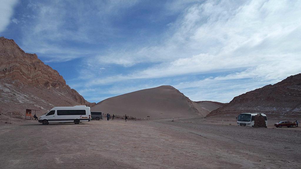 Área de estacionamento, logo na entrada do Vale de La Luna